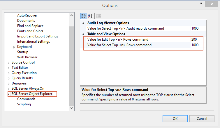 SQL Server Change Default Top Option