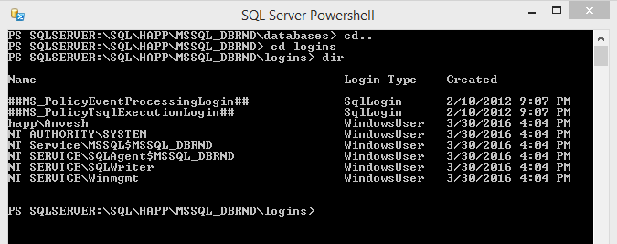 SQL Server PowerShell Change CD