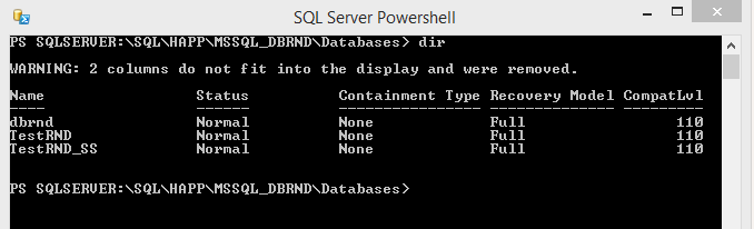 SQL Server PowerShell DB Dir
