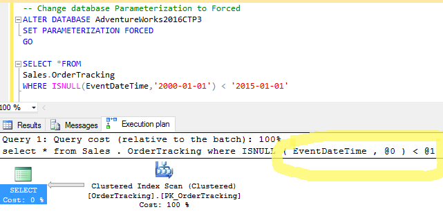 sql server force parameterization