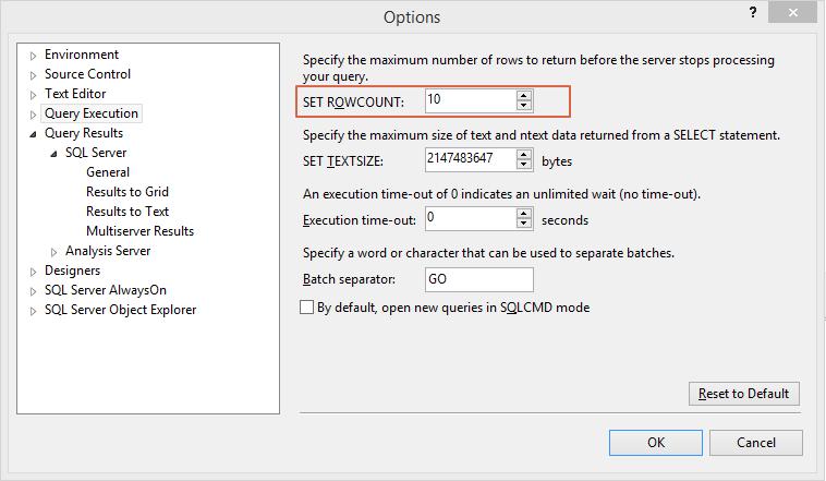 SQL Server Set Row Count