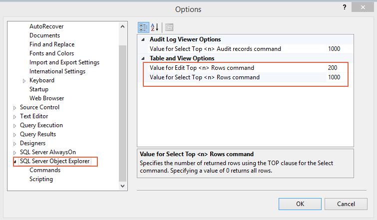 SQL Server Change Default Top Option