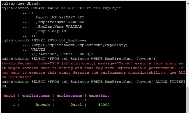 NoSQL Cassandra Allow Filtering Option