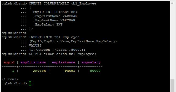 NoSQL Cassandra Create Table