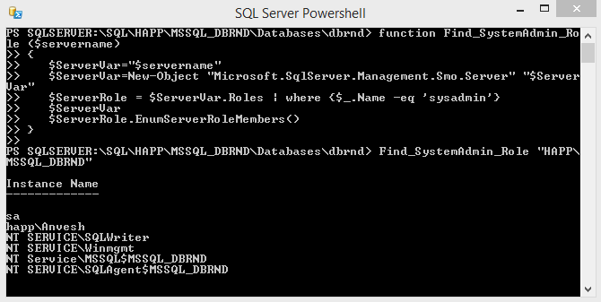 SQL Server PowerShell Function System Admin