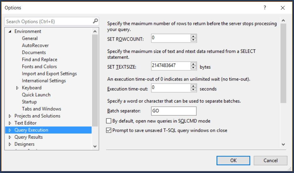 SQL Server: How to change the default